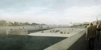 Zicht op de Zuidersluis na heraanleg van de Scheldekaaien