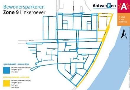 Kaart bewonersparkeren op Linkeroever (Blauwe Zone + Gele Zone)