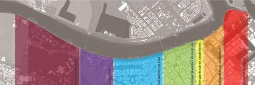 De gebieden voor de heraanleg van de Scheldekaaien