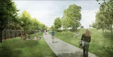 Zicht op de groene corridor na de heraanleg van de Scheldekaaien